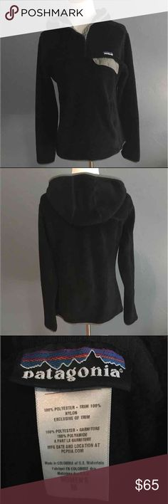 Patagonia re tool snap hoodie Women's black pullover with hood in great used condition without holes, rips or stains.  Perfect for layering for winter and spring!  Wonderfully soft and comfortable. Patagonia Jackets & Coats