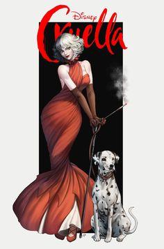 Disney Princess Art, Disney Fan Art, Disney Love, Disney Drawings, Cartoon Drawings, Cute Drawings, Cartoon Fan, Cartoon Art Styles, Cruella Deville