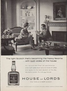 """Description: 1959 HOUSE OF LORDS vintage print advertisement """"The light Scotch""""-- House of Lords Scotch Whisky. The light Scotch that's becoming the heavy favorite ... with both sides of the hosue. House of Lords ... the 'HIS and HER' scotch -- Size: The dimensions of the full-page advertisement are approximately 8.5 inches x 11.5 inches (22cm x 29cm). Condition: This original vintage advertisement is in Very Good Condition unless otherwise noted ()."""
