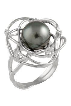 9-10mm Black Tahitian Pearl Diamond Ring - 0.08 ctw by Gilo Creations on @HauteLook