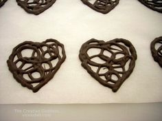 Lacy Chocolate Heart Garnish for Valentines Day or weddings