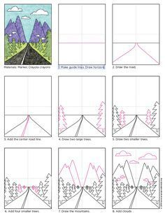 Draw a Vanishing Point Road. Free PDF tutorial download. #vanishingpoint #howtodraw