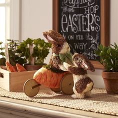 """Come Ride in My Carrot"" Natural Bunnies (item# 2882093) ~ 9.75""h foam figures in sisal & grass, $20 