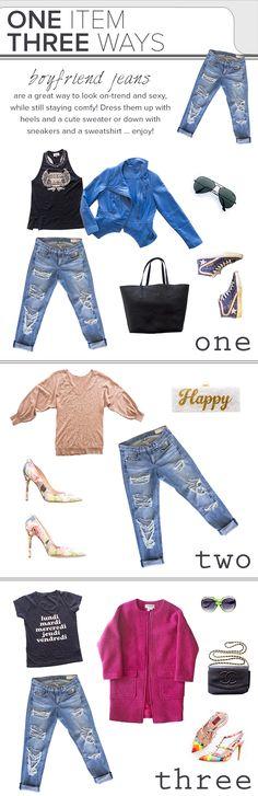 One piece, three ways: Wear boyfriend jeans in funky, flirty and fun looks