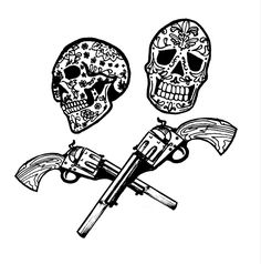 #mexican #tattooart #tattoo #blackandwhite #flashtattoo #guns #skulltattoos Skull Tattoos, Guns, Darth Vader, Mexican, Fictional Characters, Weapons Guns, Revolvers, Weapons, Fantasy Characters