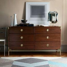 Malone Campaign 3-Drawer Dresser - Walnut