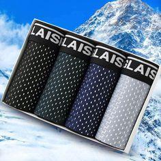 4 Pieces Ice Silk Soft Comfy Mesh Breathable Boxer Briefs