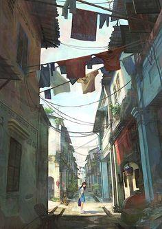 Illustrator Chong Fei Giap aus Malaysia zeichnet diese tollen Bilder. Von einer asiatischen Stadt mit einem Vorort voller kleiner bunter Häuser. Die Häuser stapeln sich übereinander, sind dazwischen mit anderen Häusern verbunden und dann fährt da auch noch
