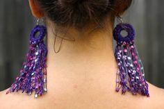 Fauxchét® Fringed Earrings, easyloop® Fauxchét® FREE PATTERN #make handmade, crochet jewelry, yarn, earrings