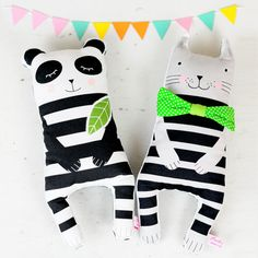 handmade fabric panda and cat dolls in black and white stripes with green leaf and green bow tie - by PinkNounou