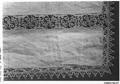 Altar cloth Date: 16th century Culture: Italian, Venice Medium: Bobbin lace Dimensions: L. 41 x W. 67 inches 104.1 x 170.2 cm Classification: Textiles-Laces Credit Line: Rogers Fund, 1920 Accession Number: 20.186.372