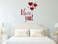 Bald ist Valentinstag!! 14.02.2015  Wandtattoo Liebe Schriftzug I love you mit Herzen und Luftballon  #Wandtattoo #Valentinstag #Liebe #Geschenk