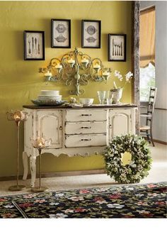 find an old sideboard, paint it if you must & stand it in front of a strong colour, then have Fun styling it. French Country Console | www.countrydoor.com