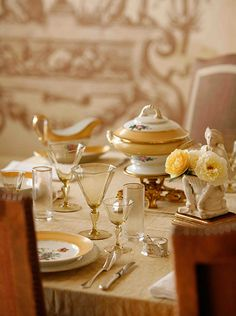 This lunch table is carefully set with 19th century ceramics and old Venetian glass. The last of the garden roses mark the passing of summer into fall as the afternoon light baths the room in a golden glow. No matter how you choose to entertain at home, even the smallest effort to make the table more beautiful will enhance the party and make you and your guests feel special.   From Autumn 2012 | World White Webb Design Log | White Webb, LLC