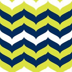 Gail Wright at Home Designer Fabric by the Yard - Chevron Wave Stripe Citron, Navy, and White