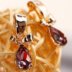 Crystal Drop Earrings Lavender - One Size