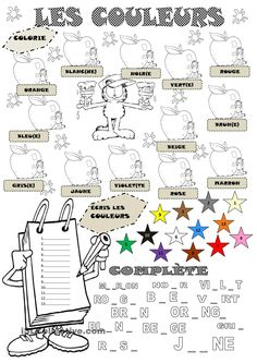 Les Couleurs and other great printables. Excellent for interactive notebooks