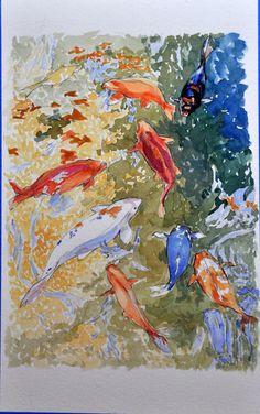 Koi schilderij #mooi Koi Painting, Koi Art, Garden Pond, Japanese Kimono, Ponds, Goldfish, Watercolors, Gardens, Pisces