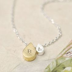 Personalised Mother And Baby Droplet Necklace