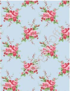 Blue with Pink Roses Vintage (x1) A4 Icing Sheet