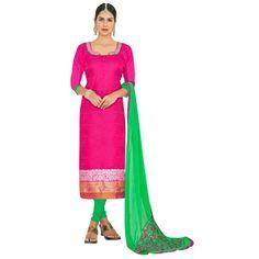 Ethnic Wear Pink & Green Salwar Suit  - FLORAL1005