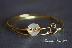 Custom Initial disc and Open Heart bracelet, Personalized Bracelet, Initial Bracelet, Valentine Gift, Gold Bangle Bracelet, , Monogram. $26.00, via Etsy.