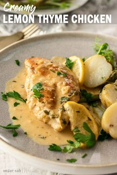 Creamy Lemon Thyme Chicken is all made in one pan or skillet. Easy to prepare, ready in under 30 minutes and a tangy, creamy sauce, this simple chicken dish is an insanely delicious dinner for any night of the week. Lemon Thyme Chicken, Lemon Thyme Recipes, Creamy Chicken, Kitchen Recipes, Cooking Recipes, Cooking Ideas, Healthy Chicken Recipes, Turkey Recipes, Spring Recipes
