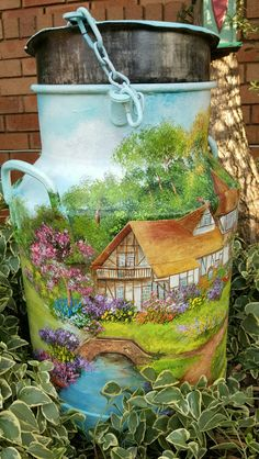 Garden Cottage on milkcan Painted Milk Cans, Old Milk Cans, Decoration Shabby, Tole Painting Patterns, Garden Cottage, Recycled Crafts, Beautiful Paintings, Painting Techniques, Folk Art