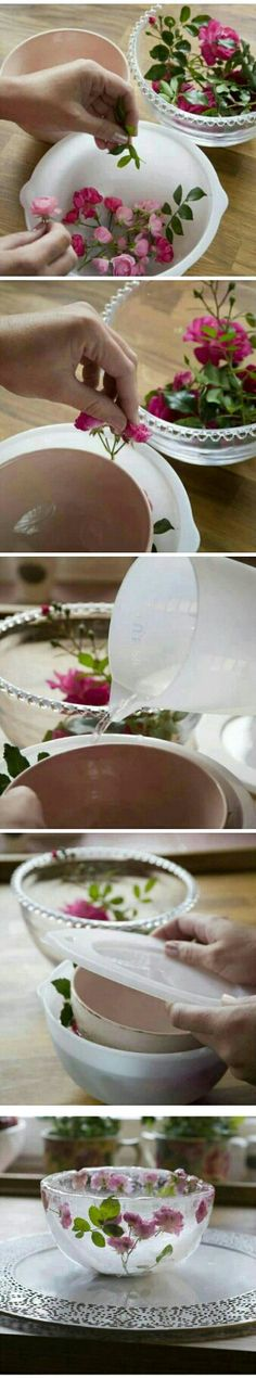 DIY Decorative Ice Bowl : good for fruits salad in summer