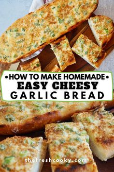 Skip takeout and make your own hot, gooey, oh so cheesy garlic bread with this super simple cheesy bread spread! No garlic, just make cheese bread, this is the best recipe and bubbles up golden brown perfectly every time! A great side with pizza, pastas, chili and soups! Quick Bread Recipes, Fun Baking Recipes, Easy Appetizer Recipes, Side Dish Recipes, Easy Dinner Recipes, Potluck Recipes, Cheese Recipes, Dinner Ideas, Side Dishes