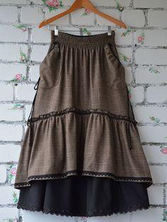 """Купить Юбка в стиле бохо с кармашками """"Мишка"""" - коричневый, юбка в пол, юбка…"""