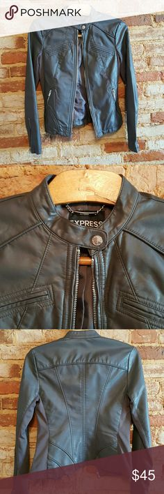 Express faux leather jacket I absolutely love this jacket and am so sad to give it up (bought from another Posher). But it's slightly too small on me so I'm hoping someone else can enjoy! It's in great condition and super flattering and perfect for this time of year! Size xs, gray. Express Jackets & Coats