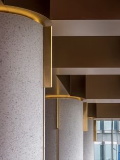 of Wann lounge / Various Associates - 5 Wann lounge,The detail of elegant columns. Image © Chao ZhangWann lounge,The detail of elegant columns. Interior Columns, Lobby Interior, Office Interior Design, Interior Architecture, Interior Paint, Hotel Interiors, Dark Interiors, Office Interiors, Commercial Design
