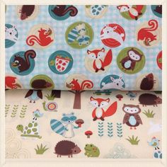 """""""Woodland"""" nursery prints at JoAnn's. These are our favorites for Kit's quilt"""