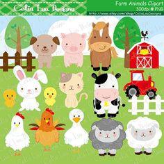 Farm animals Clipart cute farm animals clip art от CeliaLauDesigns