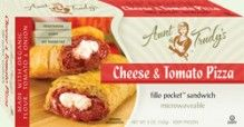 Cheese & Tomato #Pizza Fillo Pocket Sandwich (5 oz.) - A blend of Italian cheeses (mozzarella and ricotta) combined with a tomato sauce seasoned with basil, oregano, thyme, garlic and pepper, wrapped with Organic Fillo dough in the shape of a hand held rectangle. Microwavable. Made with #Organic Flour, Tomato, & Onion; #Vegetarian, #Kosher OU-Dairy, Yeast-Free, No Trans-Fat. See nutrition or shop online at http://www.fillofactory.com/brands/brands-aunt-trudys.html.