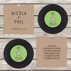 Music Lovers - A Retro Record Rockabilly LP Diecut Invitation for Wedding, Birthday, Live Music Event, Anniversary, Bar or Bat Mitzvah Stationery Craft, Wedding Stationery, Wedding Invitations, Custom Printed Labels, Printing Labels, Rockabilly, Old Vinyl Records, Vinyl Cd, Spelling And Grammar