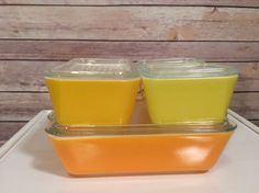 VINTAGE PYREX 8 PC REFRIGERATOR DISH SET YELLOW ORANGE DAISY 501 502 503
