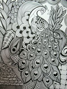 Peacock in a zentangle style art using pen & ink, original artwork. 11 X 14 size with black matboard.