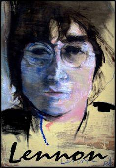 John Lennon 11 x 17 watercolor pastel expressive iconic musician poster rock  famous hippy graphite pencil line Portrait Print