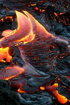 ~ When Rock Becomes River -- lava flow at dawn from a Volcano in Hawaii