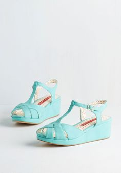 Lovely as Lemonade Wedge in Blue Raspberry by Bait Footwear - Mid, Faux Leather, Blue, Solid, Cutout, Casual, Daytime Party, Vintage Inspired, 20s, Spring, Summer, Better, Platform, Wedge, T-Strap, Variation