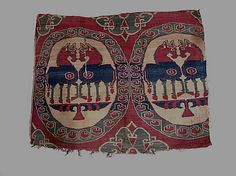 Date:      8th–9th century  Culture:      Central Asia  Medium:      Woven silk  Dimensions:      Before conservation: greatest height 15 15/16 in. (40.5 cm) x greatest width 19 1/8 in. (48.6 cm)  Classification:      Textiles-Woven  Credit Line:      Purchase, The Vincent Astor Foundation Gift, 2006  Accession Number:      2006.173