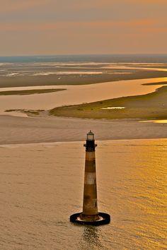 Morris Island Lighthouse so beautiful! I want to see it in South Carolina Beautiful World, Beautiful Places, Morris Island, Lighthouse Pictures, Folly Beach, South Carolina, Coastal, Scenery, Places To Visit