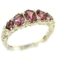 High Quality Solid Sterling Silver Natural Pink Tourmaline English Victorian Ring - Finger Sizes 5 to 12 Available LetsBuySilver. $142.00