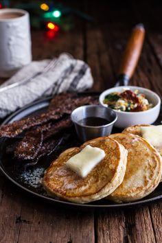 Breakfast for Dinner w/Buttermilk Ricotta Pancakes with Maple Candied Bacon + Eggs   halfbakedharvest.com @hbharvest