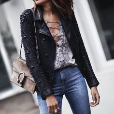 lace up satin cami, studded leather jacket, high waisted jeans, gucci bag