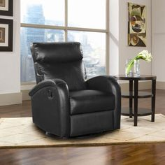 Barret Black Top Grain Leather Recliner Swivels, Rocks and Reclines Manually Leather Recliner, Black Tops, Home Furniture, Lounge, Chair, Home Decor, Airport Lounge, Homemade Home Decor, Home Goods Furniture