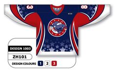 Custom Sublimated Hockey Jersey Design 1003 can be made in any color combination, any lettering & number styles, flat price includes all decoration, free shipping.