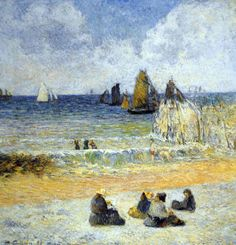 Paul Gauguin - Post Impressionism - La plage à Dieppe - Beach in Dieppe - 1885